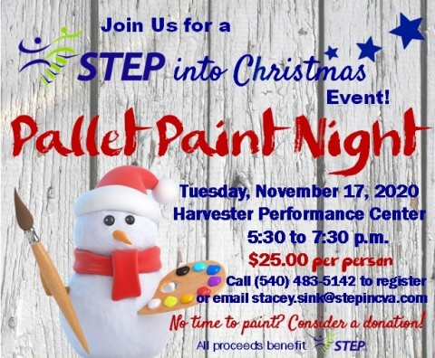 STEP Into Christmas on November 17th with Pallet Paint Night!